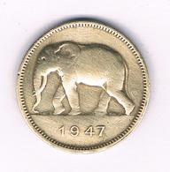 2 FRANC 1947 BELGISCH CONGO /6087/ - Congo (Belgisch) & Ruanda-Urundi