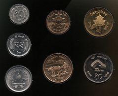 NEPAL COIN SET 7 MONNAIES 10-25-50 PAISE + 1-2-5-10 RUPEES - Nepal