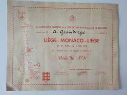 1952 Diplôme Médaille D' Or Fédération Motocycliste Belgique Motos Liège-Monaco- Liège FMB - Deportes