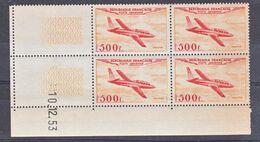 France PA  32 Magister Bloc De 4 Coin Daté 10 12 1953 Tache De Couleur Au Verso Pas De Rouille Neuf ** TB MNH Cote 1250 - Poste Aérienne