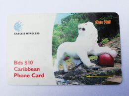 BARBADOS   $10-  Gpt Magnetic     BAR-263F  263CBDF  GUN HILL   LOGO   Very Fine Used  Card  ** 2916** - Barbades
