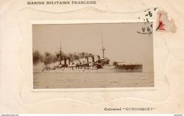 """Marine Militaire Française- Cuirassé """" CONDORCET """"  … Carte Photo - Guerre"""
