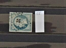 07 - 20 - France N°14 Oblitéré PC 55 - Alzonne - Aude - 1853-1860 Napoléon III