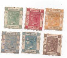 HONG KONG - 1882-1902 -Victoria N+ - 6 Timbres ( 2 -4-5-10-12 30 Cts ) -Yvert N°-34.36.38.42.43.45 - Hong Kong (...-1997)