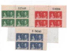 HONG KONG -1937- Couronnement De GEORGE VI -N++  3 Blocs De 4- B De F  --Yvert N°-137/.139 - Hong Kong (...-1997)