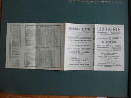 DEPLIANT PUBLICITAIRE FONTAINEBLEAU  LIBRAIRIE LEFEVRE AVEC HORAIRES TRAINS ET AUTOBUS 1931 EXC ETAT - Autres