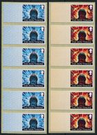 """GB """"Post And Go"""" Mint Stamps. Game Of Thrones, The Iron Throne Set (2) No Value Blank Error Strips Of 6 - Gran Bretagna"""