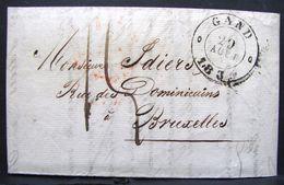 PLTiClA. 1. LAC Envoyée De Gand Vers Bruxelles Le 29 Août 1834. Oblitération Noir Et Rouge - 1830-1849 (Belgique Indépendante)