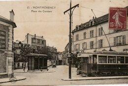 95 VAL D'OISE - CP MONTMORENCY - PLACE DES CERISIERS / TRAMWAY - L'ABEILLE PARIS SM N° 63 - CIRCULEE EN 1930 - Montmorency