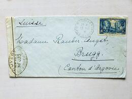 FRANCE > SUISSE, 1939, Lettre CENSURÉE Pour BRUGG (2f25 Centenaire De La Photographie, Seul) - Marcophilie (Timbres Détachés)