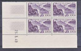 France PA  26 Lyon Bloc De 4 Coin Daté 25 4 1949  Neuf ** TB MNH Cote 100 - Poste Aérienne