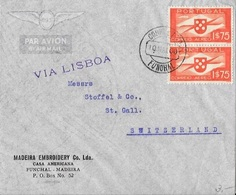 PORTUGAL To SWITZERLAND Cover With Airmail Issue 1$75 Postmark With Date Error - 1910-... République