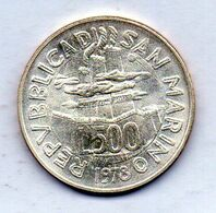 SAN MARINO, 500 Lire, Silver, Year 1978, KM #84 - San Marino