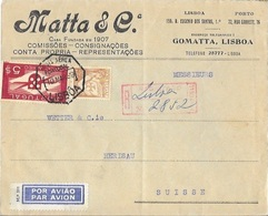 PORTUGAL To SWITZERLAND Cover With Airmail Issue 5$00 - 1910-... République