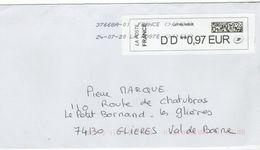 Enveloppe FRANCE Avec Vignette D' Affranchissement LETTRE VERTE Oblitération LA POSTE 37668A-01 24/07/2020 - 2010-... Illustrated Franking Labels