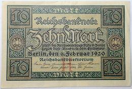 Billete Alemania. 1920. 10 Marcos. República De Weimar. EBC. Excelente Buena Conservación - 10 Mark