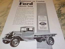 ANCIENNE PUBLICITE CAMION FORD CHASSIS LONG  1930 - Publicités