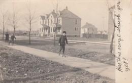 Kids On Roller Skates Residential Neighborhood, Roller-skating Craze On C1900s Vintage US Real Photo Postcard - Postcards