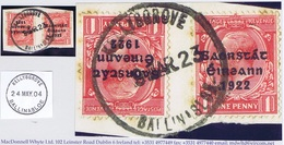 Ireland Galway 1923 Rubber Climax Dater KELLYSGROVE BALLINASLOE 9 MAR.23 On Piece With Thom Saorstat 1dx2, Stains - Irlanda