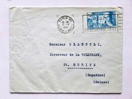 FRANCE > SUISSE, 1937, Lettre PARIS > ST.MORITZ (1F50 PARIS Exposition Internationale, Seul) - Marcophilie (Timbres Détachés)