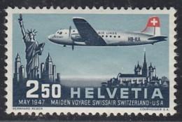 SCHWEIZ  479, Postfrisch **, Erstflug SWISSAIR, 1947 - Posta Aerea