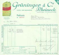 """Rechnung  """"Grüninger, Hafer- Und Maismühle, Rheineck""""          1940 - Schweiz"""
