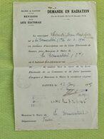 DEMANDE EN RADIATION - Révision Liste Electorale 7 Juin 1945 - La Bernardière Vendée - Mairie Nantes Loire Atlantique - Historical Documents