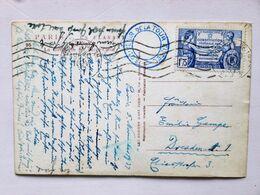 FRANCE > ALLEMAGNE, 1937, Carte Postale, PARIS > DRESDEN (1f75 US Constitution, Seul) / Cachet PARIS Exposition De 1937 - Marcophilie (Timbres Détachés)
