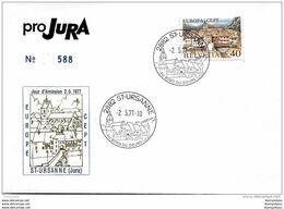 """252 - 23 - Enveloppe """"Pro Jura"""" Avec Oblit Illustrée De St-Ursanne 1977 - Marcophilie"""
