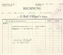 """Rechnung  """"Boll-Villiger's Erben, Margarine, St.Gallen""""          1938 - Schweiz"""