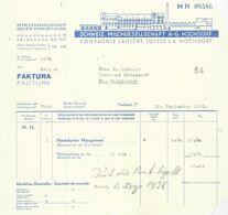 """Rechnung  """"Schweiz. Milchgesellschaft, Hochdorf""""          1938 - Schweiz"""