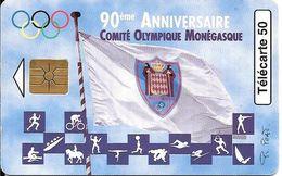CARTE-PUBLIC-MONACO-50U-MF44-GEM B-Fond Rouge-04/97-COMITE OLYMPIQUE-V° N°Série 4003-UTILISE-TBE - Monace