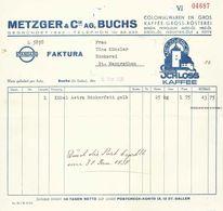 """Rechnung  """"Metzger, Colonialwaren/Kaffeerösterei, Buchs SG""""          1938 - Schweiz"""