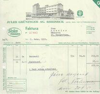 """Rechnung  """"Grüninger, Hafer-, Mais- Und Futterwaren, Rheineck""""          1951 - Schweiz"""