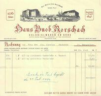 """Rechnung  """"Buob, Colonialwaren, Rorschach""""          1952 - Schweiz"""