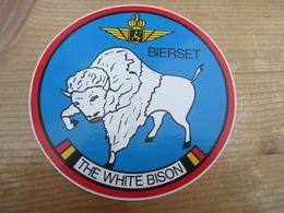 STICKER BELGIAN AIR FORCE BIERSET THE WHITE BISON - Aviation