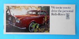 ROLLS-ROYCE - We Invite You To Drive The Personal Rolls-Royce ... Original Vintage Brochure (1969.y) * Printed In USA - Publicités