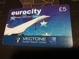 Phonecard GRANDE BRETAGNE  5 POUND GREAT BRITAIN  PREPAID EUROCITY CONCORDE PLAIN    **2928 ** - Ver. Königreich