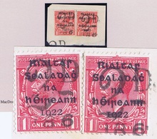 "Ireland 1922 Dollard Rialtas 1d Pair On Piece Extraordinarily Cancelled By ""2D/186"" Postage Due Handstamp Of Dublin In - Usati"