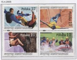 Poland 2005 Mi 4176-79 Extremal Sports, Parachute Jump, Bungee, Rock Climbing, Rafting Full Of Set MNH** - Ongebruikt