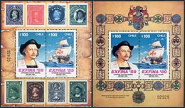 Chile 1989. Michel Bl.#10/11 MNH/Luxe. Sailing Ships. Christopher Columbus. Stamp Exhibition. (Ts07) - Christopher Columbus
