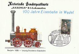 """Eisenbahn / 1983 / Sonderpostkarte """"100 Jahre Eisenbahn In Wedel"""", SSt. (CI49) - Eisenbahnen"""