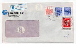1982 YUGOSLAVIA,SLOVENIA,KRANJ,REGISTERED COVER,RED CROSS STAMP,GORENJSKI TISK - Interi Postali