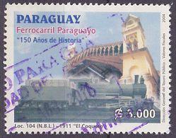 Timbre Oblitéré N° 2908(Yvert) Paraguay 2004 - Rail, Locomotive 104 - Paraguay