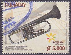 Timbre Oblitéré Paraguay 2015 - Instrument De Musique, Trompette - Paraguay