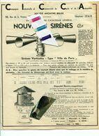 SIRENE A MAIN AVEC MANIVELLE / CICCA / VIEUX DOCUMENT / BRUXELLES / CYCLE / AUTOMOBILE - Historical Documents