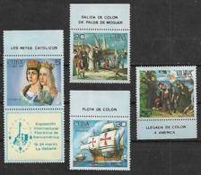1984 Cuba ESPAMER Viaje De Colon 4v. + 1 Viñeta - Christopher Columbus