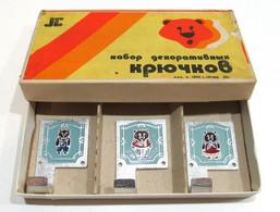 3 Pcs USSR VINTAGE Metal DOOR Hooks BEAR Enamel Russian Tale Children BOX HANGER - Altri