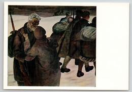WWII PARTISAN They Go To War Farewell Rifle Gun Military Soviet USSR Postcard - Guerra 1939-45