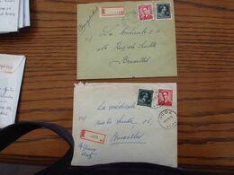 """6 Recommandés Affranchis à 7 Frs (Col Ouvert + Type """"Marchand"""". Bureaux De: WILSELE, POPERINGE, SPA, MARCHE-EN-FAMENNE, - 1936-1957 Open Collar"""